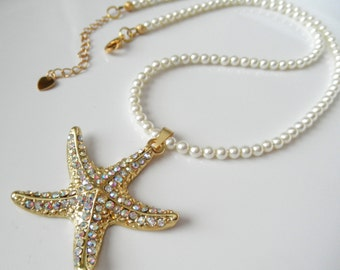 Gold Starfish Necklace with Clear AB rhinestones and Cream Swarovski Pearls, Bridal Necklace, Beach Wedding Jewelry, Bridesmaid Gift Ideas
