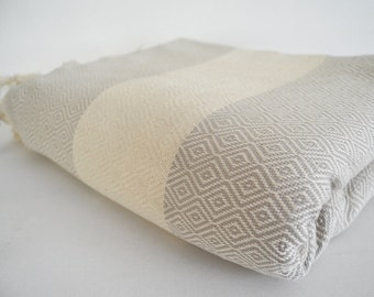 Free Shipping / Diamond Blanket / Beige / Bedcover, Beach blanket, Sofa throw, Traditional, Tablecloth