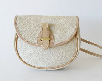 Doooney & Bourke Beige Leather Over Under Mini Crossbody Shouder Bag AWL