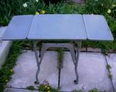 Vintage Industrial gray metal stand, typewriter desk, end table, rolling cart, Metal rolling cart