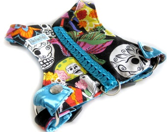 Small Dog | Choke Free | Sugar Skulls | Cotton | Dog Harness | Black Sugar Skull