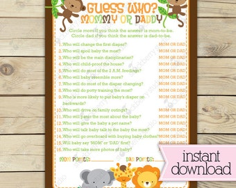 Jungle Baby Shower Guess Who Game Printable - Instant Download - Safari Baby Shower Games - Neutral Baby Shower Activities