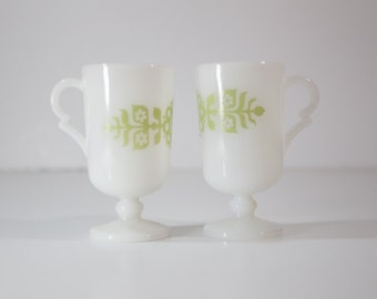 Milk Glass Footed Coffee Mugs - Set of Two (2)