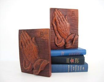 Vintage Wooden Bookends Wood Praying Hands Wood Hand Book End Study for an Apostle Art Albrecht Durer Rustic Sculpture