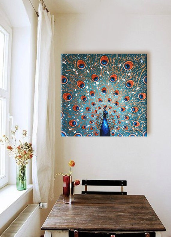 """PEACOCK PAINTING LARGE Original Fine Art Acrylic on Stretched Canvas 24""""X24""""X3/4"""" Blue Green White Colorful Abstract Home Decor Detailed"""