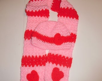 CLEARANCE crochet valentines hat and scarf, childs scarf