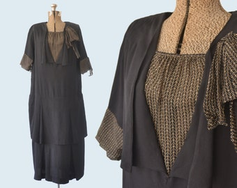 1920s Black Flapper Dress size M/L