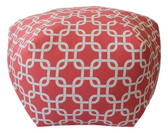 Floor pouf in coral chain Fabric / foot stool / large pouf / chain floor pouf / ottoman pillow - floor pillow - fabric floor cushion / pouf