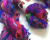 Premium quality sari silk ribbon, Unique eyelash edging, Byzantine plum. 5 yards, Pure iredescent silk sari ribbon.
