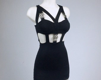 90's @ Symbol Black Cut Out Cage Strap Mini Dress // XS - S