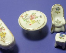Vintage Ceramic Doll House Miniature Furniture (5 pieces), 1960s