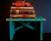 Vintage primitive / Rustic Wood Stool / Farmhouse Blue Green Wooden Small Stool