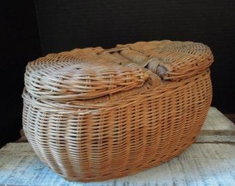 Vintage Woven Basket / Country Basket / Two Sided Basket / Storage Basket / Leather Straps