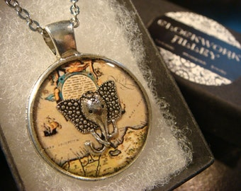 Elephant Head Vintage Map Pendant Necklace (2067)