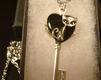 Cat Heart Key Necklace in Antique Silver- Black Background (2099)