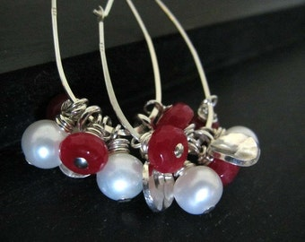 Valentine's Day Jewelry  | Cluster Hoop Earrings | Ruby Jade Earrings | Freshwater Pearl Earrings | Sterling Silver Earrings