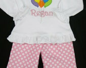 Custom monogram girls birthday balloons outfit. Ruffle pants and matching shirt. Personalized with name