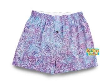Purple Boxer Shorts, Boho Womens Boxers, Cotton Batik Sleepshort, Triangles Print Boxers, Purple Sleepshort Womens