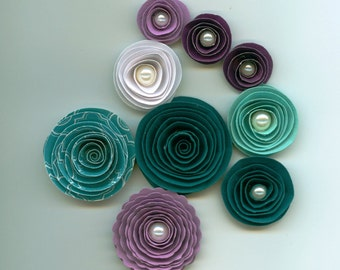 Teal and Purple Handmade Paper Flower Mix