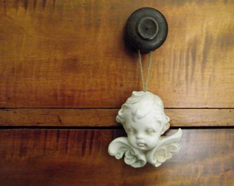 Scioto Chalkware Cherub | Hanging Angel | French Country Cottage Chic Decor | Holiday Ornament Vintage Decor