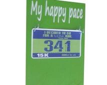 Running bibs holder: My happy pace