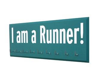 I am a Runner: medals display rack cross country gift, track and field, fun running