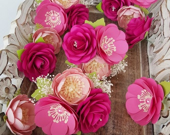 Cake Decorations - Paper Flowers - Cake Topper - Wedding - Birthday - Made To Order - Shades of Pink - Custom Colors Available