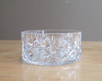 Mid Century Mod Crystal Glass Wine Bottle Coaster//Bowl