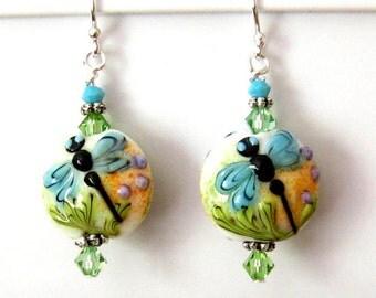 Lampwork Earings, Blue Dragonfly Lampwork Glass Earrings, Sterling Silver Lampwork Earrings, Art Nouveau Earings, Dragonfly Earrings
