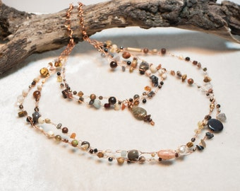 Neutral Tone Copper Art Bib Necklace with Autumn Jasper Pendant - Fields of Grain - Crocheted Wire Bib Necklace - Ardent Life Jewelry