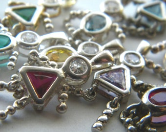 Girl or Boy Cz One Sterling Silver Birthstone Mothers Children Charm Baby Bratz Kid People