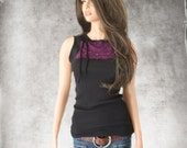 Tank top black/front lace stripe/side bow/sleeveless knit tee