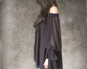 Chiffon brown tunic blouse/Off shoulder top/Blouson mid sleeve/Bow shoulder shirt