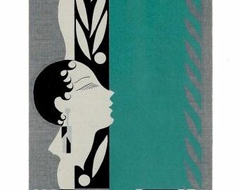 ART DECO BEAUTY (1) Vintage Single Swap Playing Cards Paper Ephemera Scrapbook