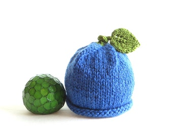 Blueberry Hat - Soft Hand Knit - Baby size - Made to Order