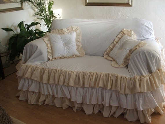 items similar to shabby chic sofa slipcover throw on etsy. Black Bedroom Furniture Sets. Home Design Ideas