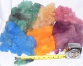 Rainbow Wool Felting Fiber Bag 4 oz Multicolor Wool orange peach blue rose green Tones Wool Fleece Locks Fluff and Felt