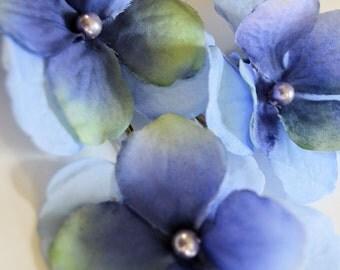 Blue Watercolor Hydrangea Hair Pins - Set of 3 - Purple Pearl - Woodland Wedding Bobby Pins