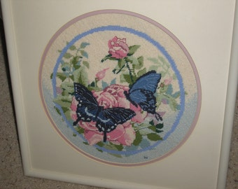 needle point butterfly finished wall hanging 17x17