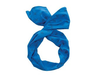 Twist Hair Scarf - Screen-printed Wire Headband - Navy Compass on Royal