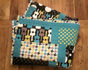 Ready To Ship! Baby Boy Crib/Toddler Bed Quilt, Michael Miller's Groovy Guitars & Lagoon fabrics w/ Grey Minky. Baby Bedding. Nursery Decor
