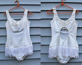 Vintage Vtg Vg 1960's 60's Women's One Piece Swimsuit in White Hip Fringe Cut Out Back Showgirl With Bra Elastic Bottom Women's Small Medium