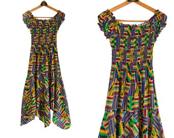 Vintage 1980's Tribal Short Sleeved Elastic Waist Dress with Geometric Print African Retro Women's Size Small Medium Vtg Vg Summer