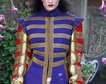 Military Jacket Vintage Red GOLD Blue COAT Memorabilia Jacket // Vintage by TatiTati Style on Etsy