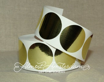 Large Gold Stickers/Envelope Seals - 50 mm (approximately 2 inches) - Please Select Quantity