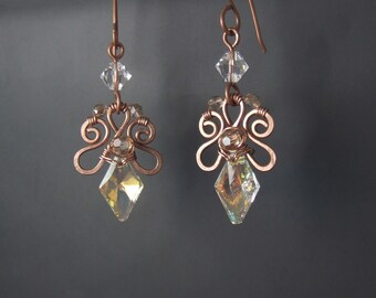 Crystal elegant earrings, Swarovski crystal jewelry, fairy bridal copper jewelry, birthday gift earrings,