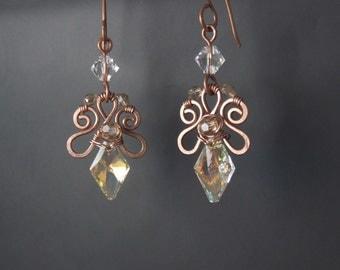 Crystal elegant earrings, Swarovski crystal jewelry, fairy bridal copper jewelry, birthday gift earrings,