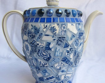Something blue... Mosaic Tea Pot White and Blue