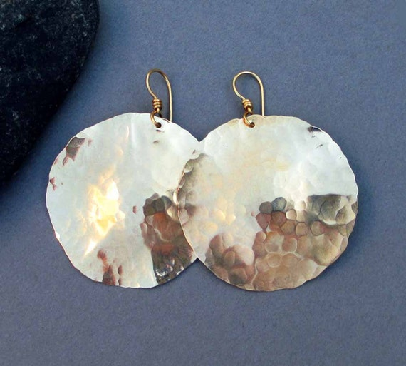 Large Gold Disc Earrings In Hammered Brass Gold By
