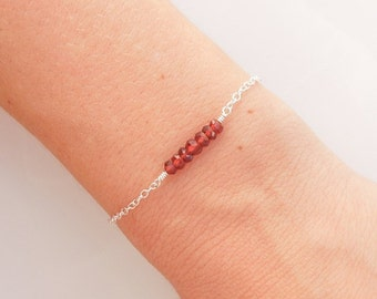 Red Garnet Bracelet in Sterling Silver - January Birthstone